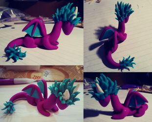 My first polymer clay dragon. by icedragonsheart