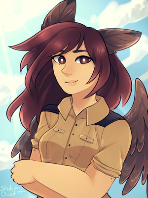Blue Skies: Owl-Chan portrait by SketchyOwlet