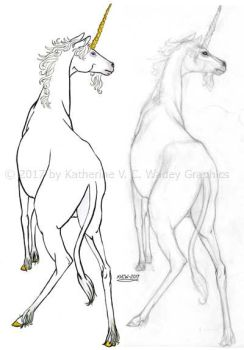 Unicorn - inks and pencil comparison 2017-10-16 df by keight