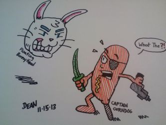 Captain Corndog vs. Floating Bunny Head by GreenUnicornArt