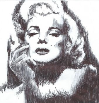 Pen drawing Marilyn Monroe (Norma Jean Baker) by Barbarian-J