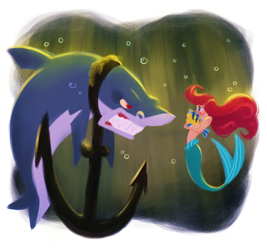 Ariel and the Shark by DylanBonner