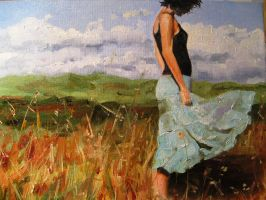 face in the mirror Blue Skirt by killaby