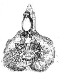 Penguin Spacecraft propelled by Cat Sands of Time by racingspoons
