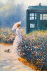 Altered Art: Woman and TARDIS in garden by csgirl
