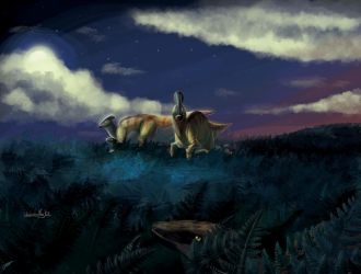 Parasaurolophus at night by UmbreoNoctie