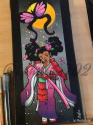 Afro-geisha butterfly, part two by KPhillips702