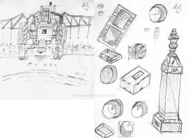 Tractor, graves and knobs sketches dash studies by TenshiHoshino