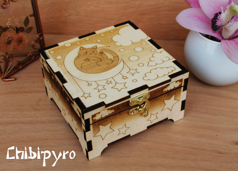 Wooden Box Moon Cat by ChibiPyro