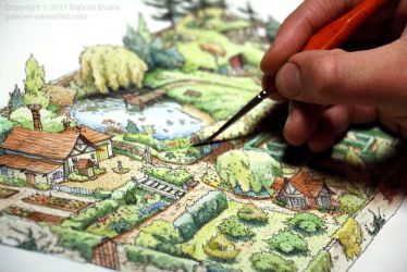 Garden Map Painting for Magazine by GabrielEvans