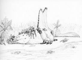 Inktober Day 18 Filthy: Spinosaurus by IllustratedMenagerie