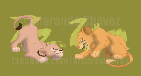 Spotted Lion Cubs 2 by Coloran