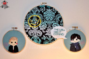 Sherlock: The Wall Had it Coming applique triptych by brokensymphony