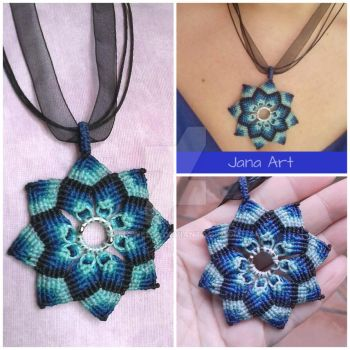 Macrame Mandala Flower - blue version- by Mawee79