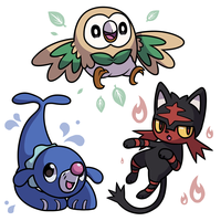 Rowlet, Litten, and Popplio by y0rshee