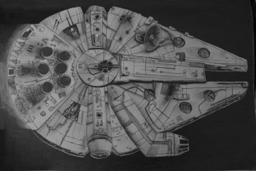 millennium falcon drawing by 11by