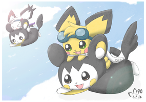 Emolga Flight by pichu90