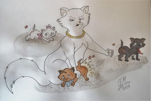 Duchess spanks her kittens by Drawing-Count