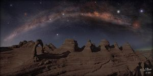 Delicate Arch Milky Way Pano by MichaelAtman