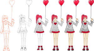 Picture girl with heart process by mackyca