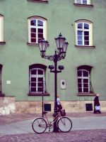 a street lamp and a bike by JuneF