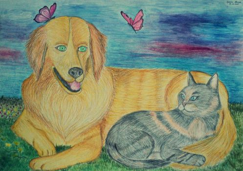 Harmony (Dog and cat) by Stupiddoll93
