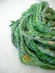 Frog prince handspun art yarn by Snowberrylime