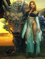 Dragon Princess, Fantasy Woman Pin-Up Art, DS Iray by shibashake