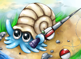Omanyte with Rod