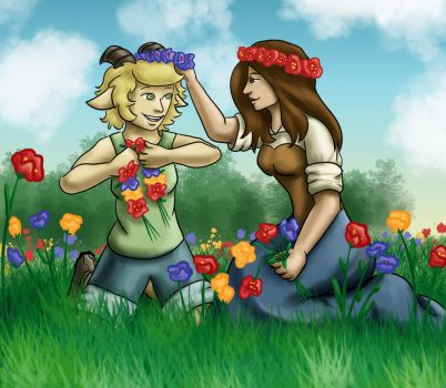 Mizzy and Riana Enjoying the Flowers by girl-n-herhorse