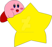 Kirby riding on a Warp Star by SuperMarioFan65