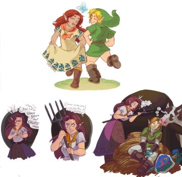Link and Malon Doodles by Foxtail-89