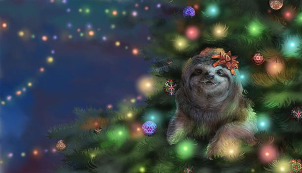 Christmas Sloth by Irbisty