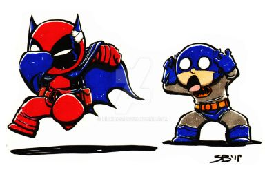 Chibi Deadpool and Batman by RickBas