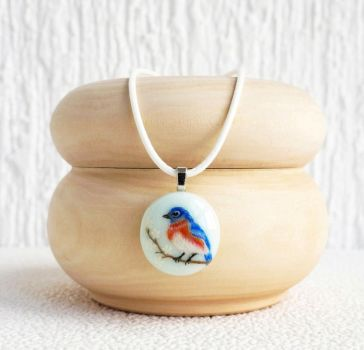 pendant / necklace with hand painted. Blue bird by HappyGlassJewelryArt