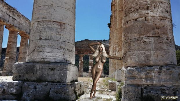 Girl and Ancient Temple (Temple Pin-Up 67) by akanay