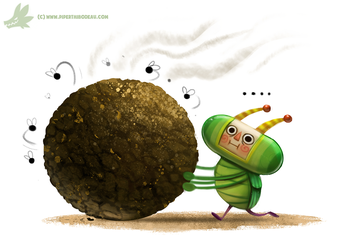 Daily Paint #1023 Katamari Dung Beetle by Cryptid-Creations
