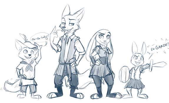 Medieval Nick and Judy by catnamedfish