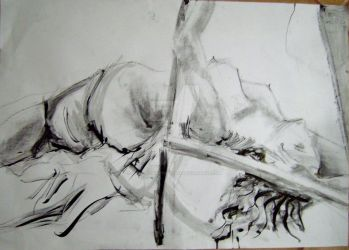 life drawing charcoal and ink by CalefacientTwilight
