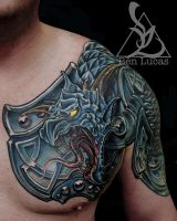 Dragon armor cover-up tattoo by Ben-Lucas