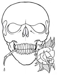 Skull And Rose Outline by vikingtattoo