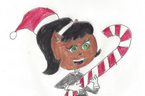 Kitty Katswell with a giant Christmas candy cane by dth1971