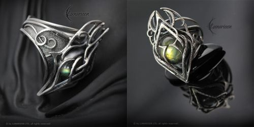 PHANARIALL - Gothic Ring, Silver and Labradorite by LUNARIEEN