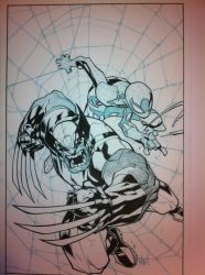 Joe Mad Wolverine Spider Man inks WIP by JosephLSilver