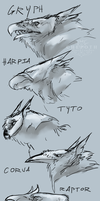Horned Stryx Heads by Hepoth