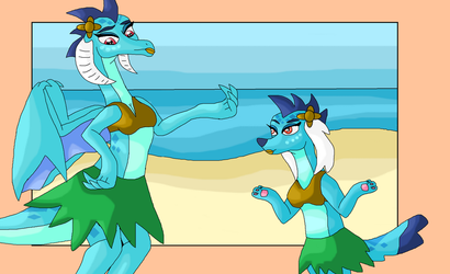 Commission: Princess Ember comes to Spike's hula P by Mojo1985