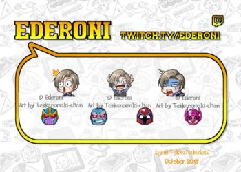 Commission: Twitch Emtes and Badges for Edroni by TekkanoMaki-chan