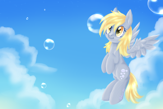 Derpy and bubbles by 0okami-0ni