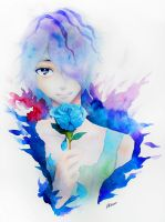 Ib - Garry and his Blue Rose by Allisaer