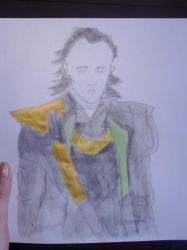 Coloured in Loki line drawing by dciphoenix